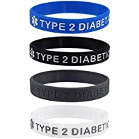 """""""Type 2 Diabetic"""" Medical Alert ID Silicone Bracelet Wristbands 4 Pack"""