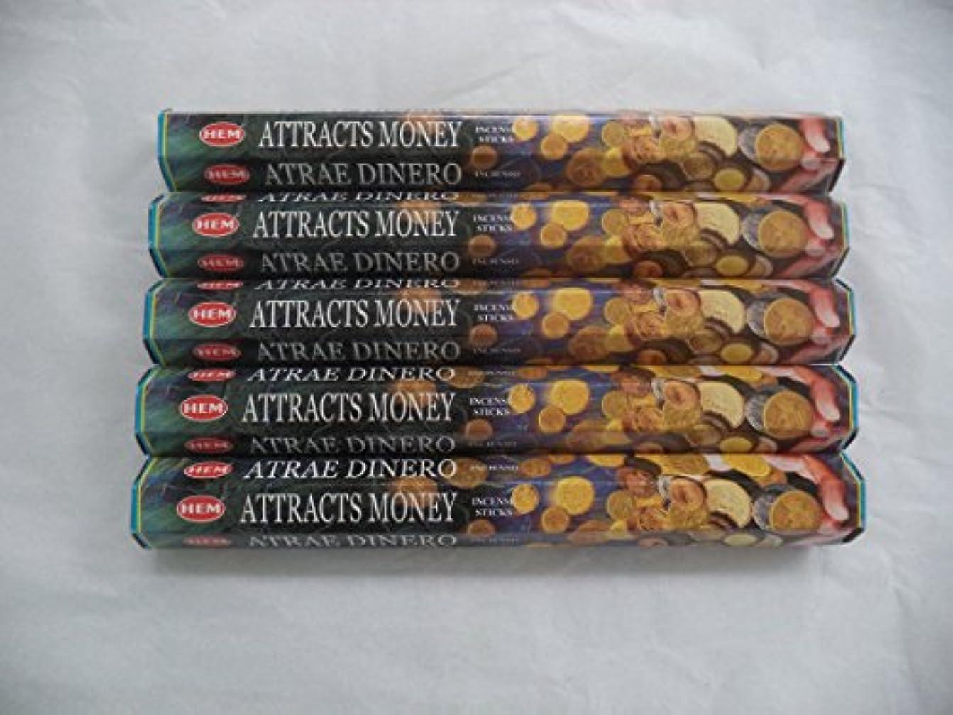 前売退化するホイストHEM Attracts Money 100 Incense Sticks (5 x 20 stick packs) by Hem