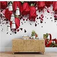 Mingld カスタム壁画壁紙現代のシンプルな赤いバラロマンチックな花写真壁画結婚式の家リビングルーム家の装飾フレスコ画-120X100Cm