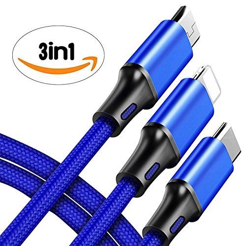 ライトニングケーブル 充電ケーブル 3in1 type-c 充電ケーブル USB Type C Micro USB ケーブル iPhone android type-c 同時給電可 iPhoneX 8plus 7 7 plus/6 6s plus/iPad/Macbook 多機種対応 1.2m (ブルー)