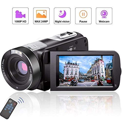 ビデオカメラ フルHD 1080p 24.0MP カムコーダー 270°回転3.0インチLCD液晶画面 デジタルカメラ リモコン操作