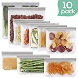 SPLF 10 Pack FDA Grade Reusable Storage Bags (5 Reusable Sandwich Bags, 3 Reusable Snack Bags, 2 Reusable Gallon Bags), Extra Thick Leakproof Silicone and Plastic Free Ziplock Lunch Bags Freezer Safe