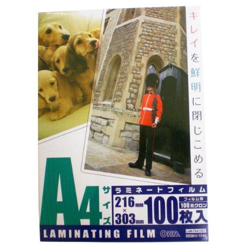 OHM 100ミクロンラミネーターフィルム100枚 A4 L...