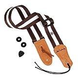 AMABILE ギター ベース アコギ 用 ストラップ 【コットン素材】【ベロア牛革】 +ストラップロック + ピック 【3点セット】 7色 ホワイトストライプ
