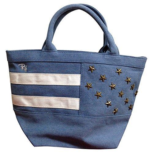 Ron Herman ロンハーマン USAスタッズトートバッグ 3色[ホワイト/レッド/ブルー] 星条旗 コーデュロイ コットン ミニ トート (ブルー) [並行輸入品]