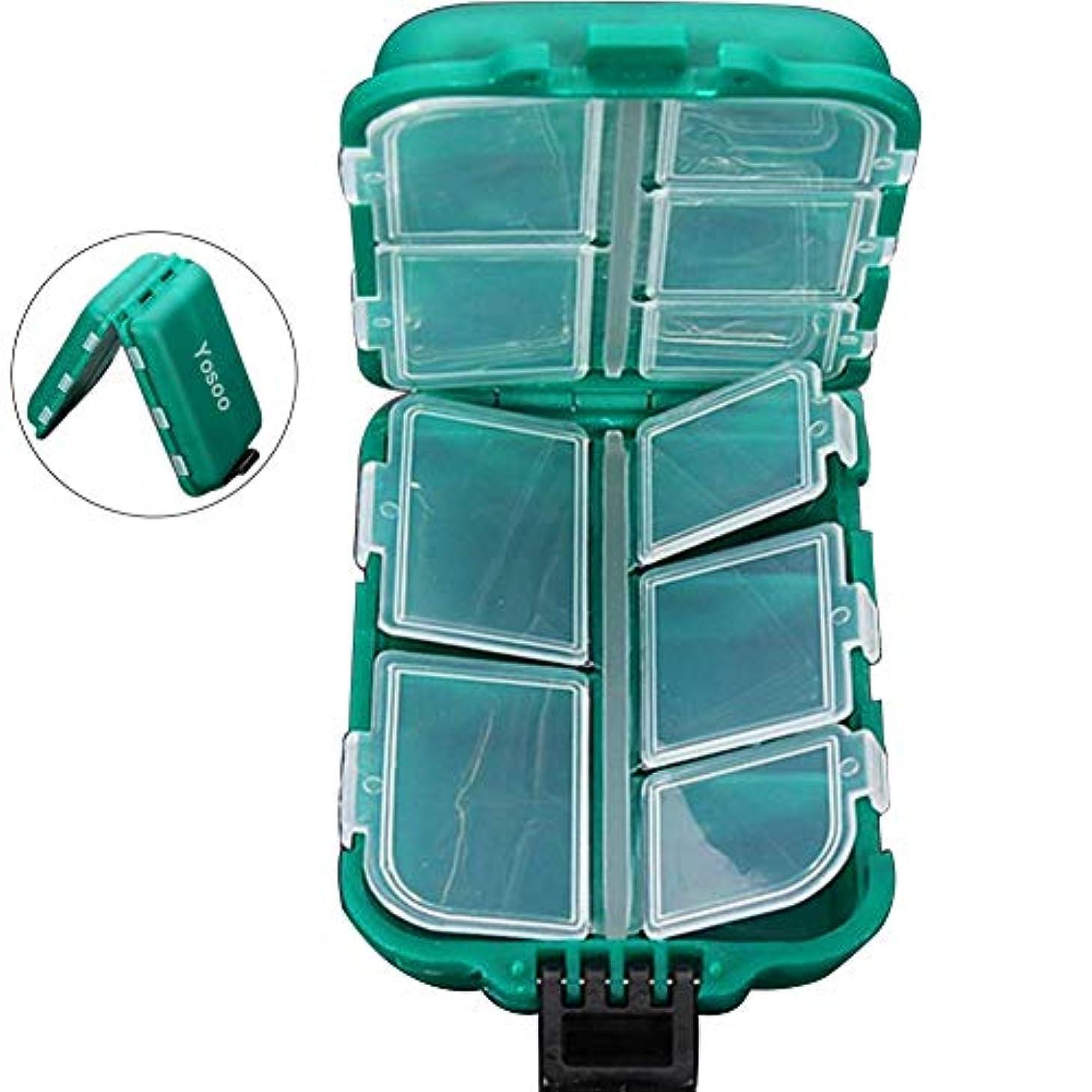 ウール干渉川Yosoo Small 10コンパートメント防水ハード釣りタックルボックスケース、フックルアー疑似餌ストレージボックス
