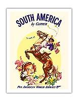 クリッパーによって南米 - パンアメリカン航空 - Boleadorasとアルゼンチンガウチョ - ビンテージな航空会社のポスター c.1950s - アートポスター - 51cm x 66cm