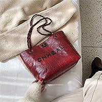 ファッションアルファベットショルダーバッグ冬の婦人用バッグ刺繍糸チェーンハンドバッグトレンドファンタスティック婦人用バッグ 実用的 (色 : Wine red)
