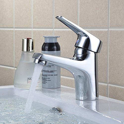 Wellbeingjp 洗面用水栓 シングル混合水栓 単水栓 混合水栓 洗面台 水栓 シングルレバー 洗面所 浴室用水栓 冷 温 切換え(ホース付き)