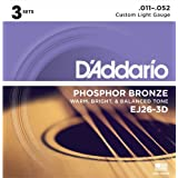D'Addario ダダリオ アコースティックギター弦 フォスファーブロンズ Custom Light .011-.052 EJ26-3D 3set入りパック 【国内正規品】