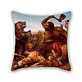 18x 18インチ/ 45By 45cm油彩画リチャードAnsdell–The Huntedスレーブ枕カバー、側面2つはフィット子供、床、バレンタイン、ダン..