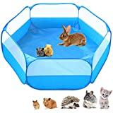 Small Animals C&C Cage Tent, Breathable & Transparent Pet Playpen Pop Open Outdoor/Indoor Exercise Fence, Portable Yard Fence for Guinea Pig, Rabbits, Hamster, Chinchillas and Hedgehogs (Light Blue)