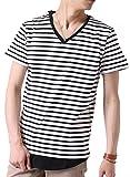 (アーケード) ARCADE メンズ 先染めボーダー Tシャツ 春 夏 Vネック 半袖 7分袖 カットソー S (半袖)7-白×黒-ナローピッチボーダー
