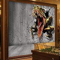 Ansyny カスタム大規模な壁画3Dレンガ壁残壁恐竜テレビ背景壁不織布壁紙-360X250CM