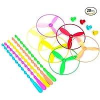 ドラゴンフライおもちゃプラスチックTwisty Flying Saucers Spinning Shooter Flying Disc Toys for Children – 20のパッケージアソートカラー