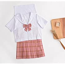チェック柄 セーラー服 ホワイト 3セット(上着+スカート+リボン) (L, レッド)