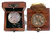 Hanzla Collection アンティーク 航海 方向性 真鍮 キャンプ コンパス 刻印 ポケット ギフト アンカー付き 木製ボックス