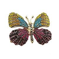 ファッション絶妙な昆虫テーマWingedバタフライクリスタルラインストーンブローチピンBreastpin for Clothes襟ドレススカーフ装飾