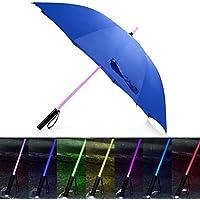URAQT ライト光る傘 光る傘 7色 LED傘 旅行傘 長傘 雨の夜に最適 梅雨対策 夜間対応