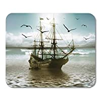 マウスパッドラバーミニ長方形自然ヨットに対して美しい風景船コールドマウスパッドスムーズゲームノートブックコンピューターアクセサリーバッキング