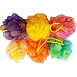 Set of 6 - High Quality Mesh Shower Sponges/Exfoliation Body Puffs/Bath Scrubbers, Assorted Colors, (50g/pc)
