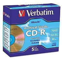 Verbatim 96319CD - Rアーカイブグレードディスク、700MB、52x、W /ジュエルケース、ゴールド、5/パック