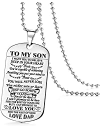 To My Son I Want You To Believe Love Dad Dog Tag Military Air Force Navy Necklace Ball Chain Gift for Best Son Birthday Graduation Stainless Steel