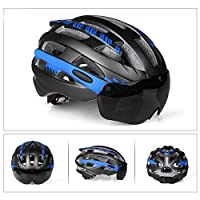 Liebeye ヘルメット 自転車 屋外用 ゴーグル付き ヘルメット サイクリング チタンブルー