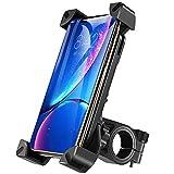 自転車 スマホ ホルダー 優れた耐久性 強力な保護 360度回転 振れ止め 脱落防止 固定用 マウント スタンド 騒音なし GPSナビ iPhoneX iPhone8、7、6Plus iPhone8、7、6 xperia 各種Androidに適し 多機種対応 角度調整 (ブラック)