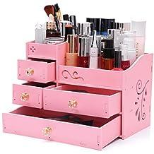 Dressing Table Storage Box, Cosmetics Makeup Brush Finishing Box Drawer Type Bathroom Shelf Waterproof (Color : Pink)