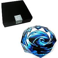 GREEM MARKET(グリームマーケット) 八角形 オクタゴン 多角形 卓上 高級 クリスタル ガラス製 灰皿 幻想 模様 青色 ブルー 品番:GMS00624(18cm)