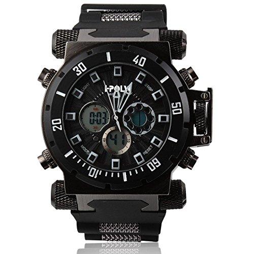 [ビンズ] BINZI ファッション腕時計, ビッグフェース 多機能 防水 アナデジ 日付 ledライト付き クロノグラフ ミリタリー パイロット HP-B メンズ(ブラック) -