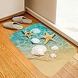 Beach Starfish Scallop Print Sponge Foam Bath Rugs and doormats Non Slip Absorbent Super Cozy Flannel Bathroom Rug Carpet 30