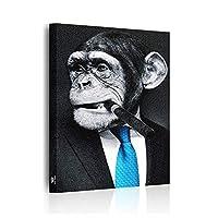 renlingsmei アートパネル タバコを吸うチンパンジー 絵画 モダン 壁飾り 壁ポスター 動物 キャンバス 絵画 玄関 インテリア おしゃれ ポスター 木枠セット 50*75cm