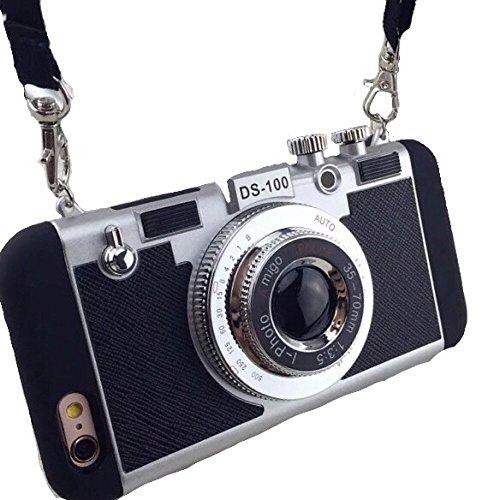Spinas(スピナス) スマホケース iPhone 6/6s/6plus 一眼レフ カメラ風 スマホケースシリコン レザー 立体 全4色 ブラック シルバー ピンク ショッキングピンク (6/6s, ブラック)