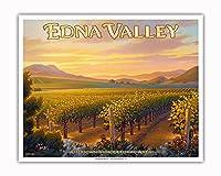 エドナ・バレー・ワイナリー - セントラルコーストAVAブドウ園 - カリフォルニアワインカントリーアート によって作成された カーン・エリクソン - アートポスター - 41cm x 51cm