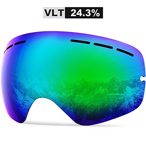 ZIONOR Lagous X スキーゴーグル スノーボードゴーグル スノーゴーグル メンズ レディース 曇り止め UVカット 球面 二重層レンズ 防塵 防風 ヘルメット可 登山/バイク/スキー運動に全面適用