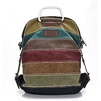 LanHong Women Canvas Handbag Stripe Multi-Color Backpack Tote Crossbody Shoulder Bags