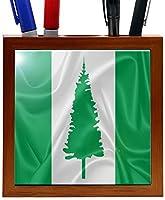 Rikki Knight RK-PH2822 Norfolk Island Flag Design 5-Inch Wooden Tile Pen Holder (RK-PH2822) [並行輸入品]