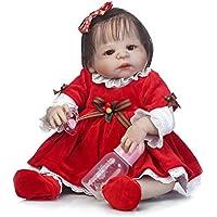 フルシリコンボディ、scdoll Rebornベビー人形Lifelikeリアルな幼児新生児赤ちゃん人形、22インチ57 cmレッドChiristmasドレスWeighted解剖学的に正しいToys