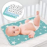 3 Pack Dipper Changing Pad, Maveek Portable Toddler Diaper Changing Pad Waterproof Baby Change Mats Premium Change Pad Liner Bed Pad Play Mat(Green&White&Blue)