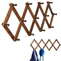 Homode ヴィンテージ木製拡張可能ペグラック 多用途アコーディオン壁掛けハンガー 帽子、コート、マグ、スカーフ、ジュエリー収納用のフック13個付き