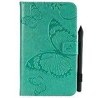 YHUISEN 蝶の花の花柄PUレザーウォレットスタンドタブレットケースサムスンギャラクシータブA 7.0インチ2016 SM-T280 / T285 (色 : 緑)