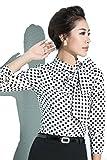 シャツ レディース 長袖 ブラウス 水玉 ドット柄 スカーフ付き リボン巻き デザイン 着脱自由 CA オフィス フォーマル ファッション M