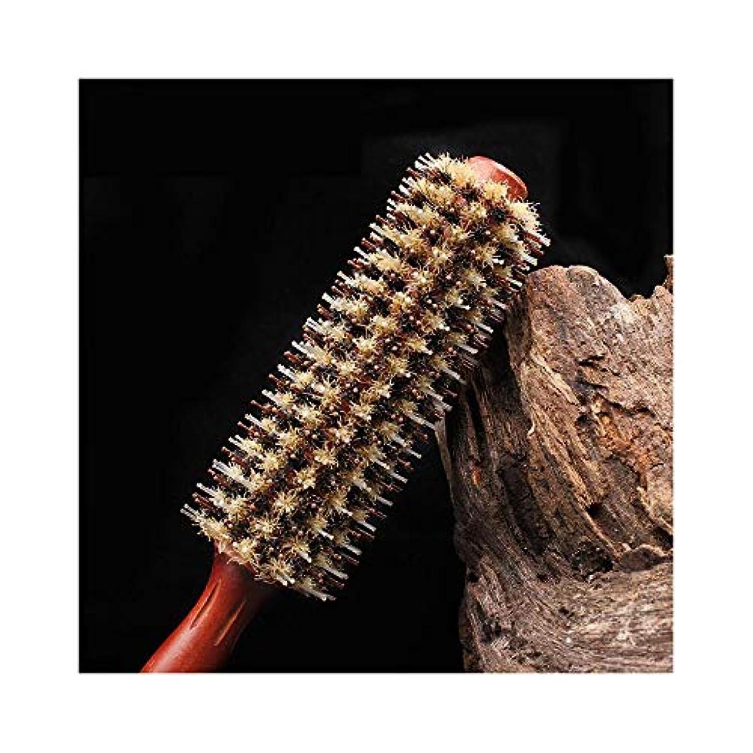 キラウエア山トランザクション望ましいすべての髪のウッドナチュラルイノシシ剛毛ヘアコームについてはFashian木製ラウンドヘアブラシ ヘアケア (サイズ : 20 rows)