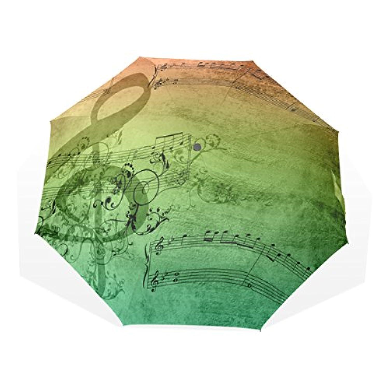 AOMOKI 折り畳み傘 折りたたみ傘 手開き 日傘 三つ折り 梅雨対策 晴雨兼用 UVカット 耐強風 8本骨 男女兼用 音符 音楽 虹色 葉