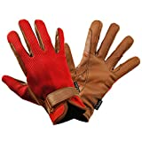 乗馬用グローブ ワッフル・レザー手袋 KE4(レッド×ブラウン) 本皮 本革 手袋 Klaus 牛革 乗馬用品 赤×茶色 KE4 (XS)