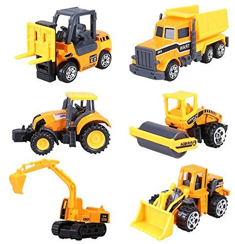 建設車両セット6 [ダンプカー フォークリフト ロードローラー ブルドーザー ショベルカー トラクター] ダイキャストミニカー 働く車 工事車両セット (イェロー)