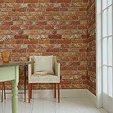 はがせるDIY壁紙シール + ハリーステッカー リフォームシール 粘着付き壁紙 テラコッタレンガ 煉瓦柄 約50cm巾×15m巻