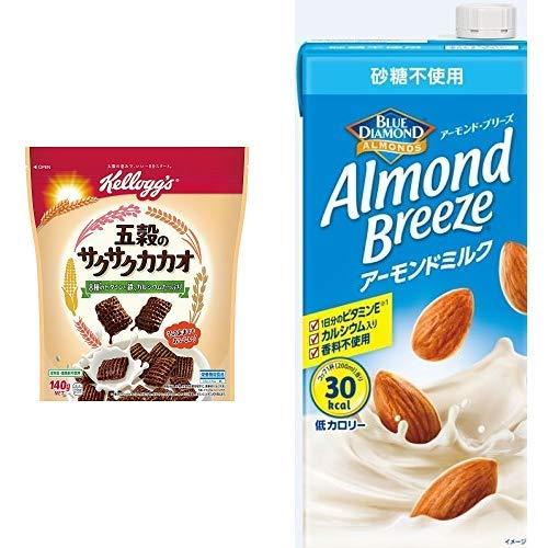 【セット買い】ケロッグ 五穀のサクサクカカオ 140g×6袋 + アーモンド・ブリーズ 砂糖不使用 1L×6本